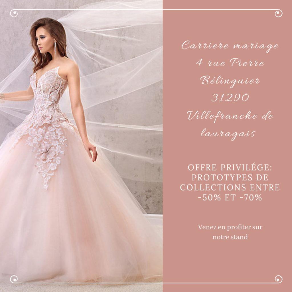 Carriere mariage & Cérémonie, création de robes de mariée, Offre Inoui! Oui! Salon Mariage Toulouse 2019