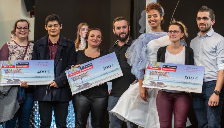 Le Podium gagnant du Mariage de Rêve, avec Sébastien Roch et Elsa Esnoult, 30ème Salon du Mariage de Toulouse Diagora 2020